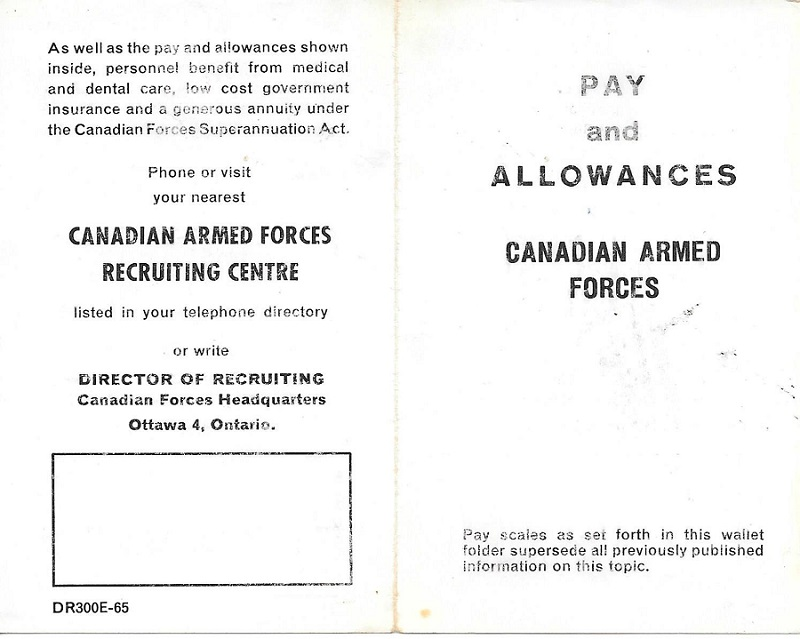 Pay and Alloances  Canadian Armed Forces - 1965 - Front and Back Cover